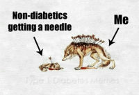 I saw this photo a little while ago, thought I would modify it for diabetics! - Meredith Note: No wolves were harmed in the making of this meme) Original photo source unknown.: Non-diabetics  getting a needle  Me I saw this photo a little while ago, thought I would modify it for diabetics! - Meredith Note: No wolves were harmed in the making of this meme) Original photo source unknown.