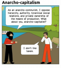Capitalism: Anarcho-capitalism  As an anarcho-communist, I oppose  hierarchy, authority, tyrannical social  relations, and private ownership of  the means of production. What  about you, anarcho-capitalist?  I don't like  taxes.