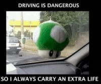 I knew I learned something from all that Mario Kart. Car memes: DRIVING IS DANGEROUS  SO I ALWAYS CARRY AN EXTRA LIFE I knew I learned something from all that Mario Kart. Car memes