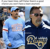 Watch out... Like Our Page NFL Memes: If your team hires Jeff Fisher there's a good  chance you won't have a team anymore  N LMlemes4you  LOUIS Watch out... Like Our Page NFL Memes