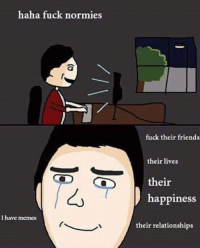 normies: haha fuck normies  I have memes  fuck their friends  their lives  their  happiness  their relationships