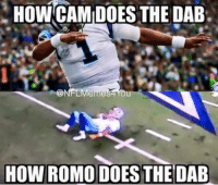 Like Our Page NFL Memes: HOWCAMIDOES THE  DAB.  Meme  HOW ROMO DOES THE DAB  Like Our Page NFL Memes