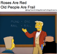 my meme : Roses Are Red  Old People Are Frail  @Edgy ForEdgy MemesForEdgyscreams  MONO  RAIL my meme