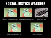 SOCIAL JUSTICE WARRIOR  DOLI  What my friends think I do. What my mom thinks I do. What I think I do.  polish  DOL  what society thinks I do.  What I really do.