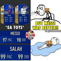 "Memes, Troll, and Messi: 98  ST  98  RW  SALAH  MIM  SM  4 WF  MESSI  97 PAC 98 DRI  97 HO 43D  HIM  SM 99 PAC 99 DRI  98 SHO 65 DEF  92 PHY  2 WF  97 PAS  82 PHY  95 PAS  BUT ME37  İWAS BETTERI  EA TOTS""  MESSI  97 PAC 98 DRI  VIA@THUGSOCCER  WE TROLL  oumal  FC B  SALAH  99 PAC 99 DRI Thoughts on these FIFA18 cards?😂👇🏻"