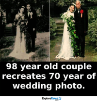 Memes, Wedding, and 🤖: 98 year old couple  recreates 70 year of  wedding photo.  Talent  Explore True love stories never have an ending... <3