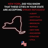 NEW YORK  DID YOU KNOW  THAT THESE CITIES IN YOUR STATE  ARE ACCEPTING  SYRIAN REFUGEES?  ALBANY  AMITYILLE  BINGHAMTON  BROOKLYN  BUFFALO  NEW YORK  ROCHESTER  SYRACUSE  UTICA New York, did you know that these cities in your state are accepting Syrian refugees?