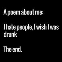 I Hate People Meme: A poem about me  hate people, Wish Was  drunk  The end