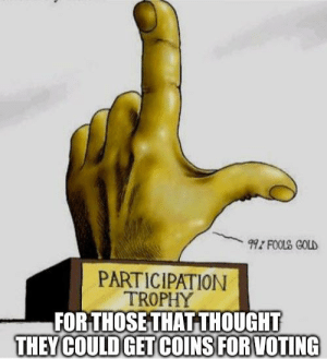Everyone is a winner: 99Z FOOLS GOLD  PARTICIPATION  TROPHY  FOR THOSE THAT THOUGHT  THEY COULD GET COINS FOR VOTING Everyone is a winner