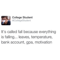 Pants.....(@andyrexford): College Student  @College Student  It's called fall because everything  is falling... leaves, temperature,  bank account, gpa, motivation Pants.....(@andyrexford)
