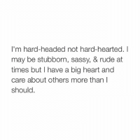 Head, Rude, and Heart: I'm hard-headed not hard-hearted. I  may be stubborn, sassy, & rude at  times but have a big heart and  care about others more than  should pretty much -@typicalgirl