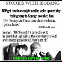 "bigbang top seungri koreanmemes-Credit: @allkpop: STORIES WITH BIGBANG  TOPgot dnunkone night and he woke upnext day  feelingsomy to Seungri so called him  TOP: ""Seungri ah, I'm so sorry about yesterday..  got so drunk.""  @BIGBANG says  Seungri: TOP hyung! It's perfectly ok to  be drunk but last night u threw my hamster out!  and shouted go! pikachu! that's not ok!""  Pikachuis TOP's favanimei bigbang top seungri koreanmemes-Credit: @allkpop"