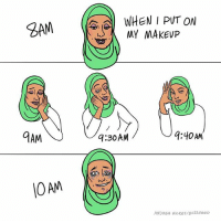 Why can't I stop touching my FACE (By @andreaghickey): 9AM  10 AM  WHEN I PUT ON  My MAKEUP  9:40 AM  9:30AM  ANDREA HICKEY BU22 FeeD Why can't I stop touching my FACE (By @andreaghickey)
