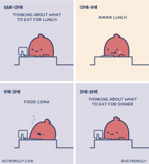 A typical day of work for me [OC] via /r/funny https://ift.tt/2P2WOGr: 9AM-12PM  12PM-1PM  THINKING ABOUT WHAT  TO EAT FOR LUNCH  MMMM LUNCH  IPM-3PM  3PM-5PM  THINKING ABOUT WHAT  TO EAT FOR DINNER  FOOD COMA  HEYBOBGUY.COM  @HEYBOBGUY A typical day of work for me [OC] via /r/funny https://ift.tt/2P2WOGr