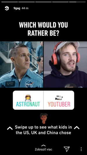 9gag, Instagram, and Nasa: 9gag 44 m  WHICH WOULD YOU  RATHER BE?  NASA  ASTRONAUT  YOUTUBER  ^Swipe up to see what kids in A  the US, UK and China chose  Zobraziť viac Today at 9gag instagram