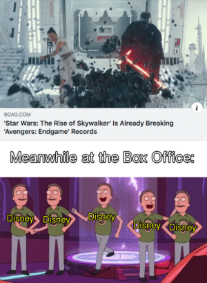 S T O N K S: 9GAG.COM  'Star Wars: The Rise of Skywalker' Is Already Breaking  'Avengers: Endgame' Records  Meanwhile at the Box Office  Disney  Disney Disney  Disney Disney S T O N K S