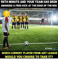 Memes, Free, and Been: 9OTH MINUTE AND YOUR TEAM HAS BEEN  AWARDED A FREE-KICK AT THE EDGE OF THE BOX  2  ㅎ Fans  WHICH CURRENT PLAYER FROM ANY LEAGUE  WOULD YOU CHOOSE TO TAKE IT? Who would you choose? 🤔