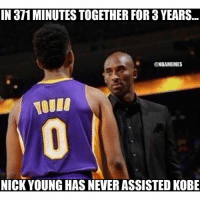😳 TAG FRIENDS!: IN 871MINUTESTOGETHER FORa YEARS  @NBAMEMES  NICK YOUNG HAS NEVER ASSISTED KOBE 😳 TAG FRIENDS!