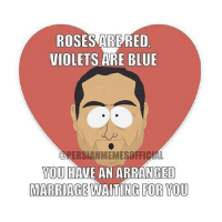 ROSES ARE RED  VIOLETS ARE BLUE  AL  YOU HAVE AN ARRANGED  MARRIAGEWAITING FOR YOU Oh ohhh