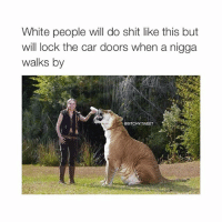 Cars, Shit, and White People: White people will do shit like this but  Will lock the car doors When a nigga  walks by  GBITCHY TWEET im pissing myself laughing