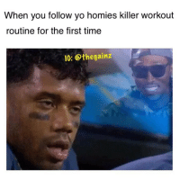 😂 @doyoueven: @gymmemesofficial  When you follow yo homies killer workout routine for the first time 😂 @doyoueven