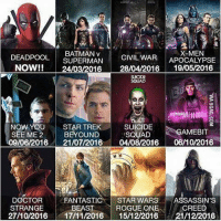 DEADPOOL BATMAN v  X-MEN  SUPERMAN  CIVIL WAR  APOCALYPSE  NOW!!  24  016  28/04/2016  19/05/2016  SCRUAD  NOW YOU STAR TRE  SUICIDE  SQUAD  AMEBIT  SEE ME 2  BEYOUND  /06/2016  21/07/2016  04/08/2016  06/10/2016  DOCTOR  FANTASTIC  STAR WARS  ASSASSINS  ROGUE ONE  CREED  STRANGE  BEAST  21A02016 17/11/2016  1512/2016  21/12/2016 2016 schedule! comicbookmemes
