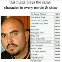 Family, Funny, and Love: this nigga plays the same  character in every movie & show  Hector  Our Family Wedding  Hector  The Walking Dead  Hector  For the Love of Money  Hector  The Dark Knight Rises  Recoil  Hector  Hector  Filly Brown  Hector  Kidnapped Souls  Hope Cafe  Hector  Hector  Force of Execution  Enter the Dangerous Mind  Hector  Hector  The Pizza Joint  Hector  Pocket Listing  Hector  The Purge. Anarchy  Hector  Furious 7  Hector  Vigilante Diaries  Hector  Varsity Punks Lmaoo fr😂