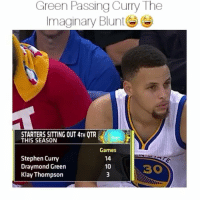 Af, Blunts, and Draymond Green: Green Passing Curry The  Imaginary Blunt  STARTERS SITTING OUT4TH QTR  THIS SEASON  Games  Stephen Curry  Draymond Green  10  Klay Thompson Lmaooooooo hahahha savage af ,😂-By: bleacher report HOODCLIPS tagafriend