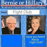 "I officially endorse this meme for 2016. @berniesanders: ""Bernie or Hillary?  Beinformed. Compare them on the issues that matter  Issue: Fight Club   Have you heard About Fight Club?"" I officially endorse this meme for 2016. @berniesanders"