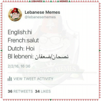 Don't forget to follownus on twitter @lebanesememes -lebanesememes lebaneseunity lebanese lebanon DoseofMotivation: AAAAAAAAAAAALEBANESEAAAAAAAMEMESAAAAAAAAAAAAA  Lebanese Memes  English: hi  French salut  Dutch: Hoi  2/2/16, 16:36  III VIEW TWEET ACTIVITY  36  RETWEETS  34  LIKES Don't forget to follownus on twitter @lebanesememes -lebanesememes lebaneseunity lebanese lebanon DoseofMotivation