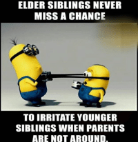 TAG your siblings & buddies 😝😂😂-Follow @_oyeteri_ for more memes n trolls 👍🏻👍🏻: ELDER SIBLINGS NEVER  MISS A CHANCE  TO IRRITATE YOUNGER  SIBLINGS WHEN PARENTS  ARE NOT AROUND. TAG your siblings & buddies 😝😂😂-Follow @_oyeteri_ for more memes n trolls 👍🏻👍🏻