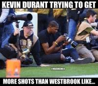 😂 nbamemes: @nbamemes  Kevin Durant trying to get more shots than Westbrook like... 😂 nbamemes