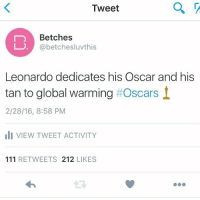 Ali, Funny, and Global Warming: as  Tweet  Betches  @betchesluvthis  Leonardo dedicates his Oscar and his  tan to global warming t Oscars  2/28/16, 8:58 PM  ali VIEW TWEET ACTIVITY  111 RETWEETS 212  LIKES