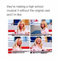 ⠀: they're making a high school  musical 4 without the original cast  and I'm like:  This not what planned  This isnot what want ⠀