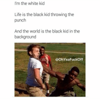 Living the dream 👍 👌 @OhYeaFuckOff: I'm the White kid Life is the black kid throwing the punch And the World is the black kid in the background Living the dream 👍 👌 @OhYeaFuckOff