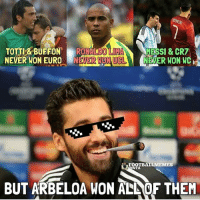 Lord Arbeloa 😂-Double Tap! | Tag Friends | - - -Great Page >> -  @UEFAONLY: TOTTI & BUFFON  RONALDO  lun  MESSI & CR7  NEVER WON EURO  N MONUCL  NEVER WON WC  FOOTBALL MEMES  STA  BUT ARBELOA WON ALNOF THEM Lord Arbeloa 😂-Double Tap! | Tag Friends | - - -Great Page >> -  @UEFAONLY