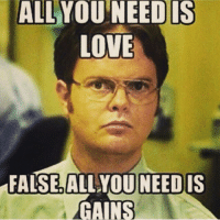 😂💪🏼: ALL  NEED IS  YOU LOVE  FALSE ALL YOU NEED IS  GAINS 😂💪🏼