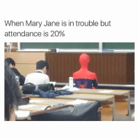 Hahah spiderman: When Mary Jane is in trouble but  attendance is 20% Hahah spiderman