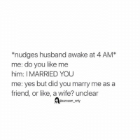 ⠀: *nudges husband awake at 4 AM  me: do you like me  him: I MARRIED YOU  me: yes but did you marry me as a  friend, or like, a wife? unclear  @sarcasm only ⠀