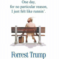 Funny, News, and Trump: One day,  for no particular reason,  I just felt like runnin'  Forrest Trump Follow our news account @fjdailynews.