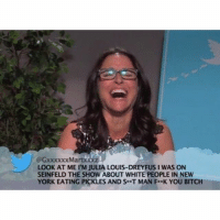 By far the best mean tweet ever read.: LOOK AT ME l'M JULIA LOUIS-DREYFUS I WAS ON  SEINFELD THE SHOW ABOUT WHITE PEOPLE IN NEW  YORK EATING PICKLES AND Se T MAN Fe K YOU BITCH By far the best mean tweet ever read.
