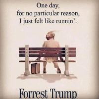 Donald Trump, Forrest Gump, and Funny: One day, for no particular reason, I just felt like runnin'. Forrest Trump Lmaoooo bruhh