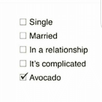 Relationships: Single  Married  In a relationship  It's complicated  Avocado  V