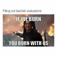 I don't give a damn about my reputation: Filling out teacher evaluations  IF WE BURN  YOU BURN WITH US I don't give a damn about my reputation