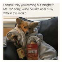 "⠀: Friends: ""hey you coming out tonight!?""  Me: ""oh sorry, wish l could! Super busy  with all this work!""  CHEEHT  AMESO  CHEEZIT ⠀"