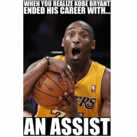 WHEN YOU REALIZE KOBE BRYANT  ENDED HIS CAREER WITH  @NBAMEMES  AN ASSIST 😂💯 nbamemes kobebryant lakers kobe
