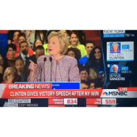 Hilary Clinton wins New York Democratic primary after a close contest with BernieSanders uselections  HoodClips: NEW YURK  291 DELEGATES 76% IN  58  774,3B5  HILLARY  CLINTON  42  559,171  BERNIE  SANDERS  BREAKING NEWS  Doom  LIV  CLINTON GIVES VICTORY SPEECH AFTER NY WIN  MSNBC  TED  DONALD  DELEGATES  B34  559  CRUZ  TRUMP  TOTAL 1237 NEEDED Hilary Clinton wins New York Democratic primary after a close contest with BernieSanders uselections  HoodClips