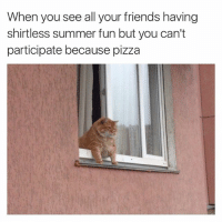 Friends, Meme, and Memes: When you see all your friends having  shirtless summer fun but you can't  participate because pizza Nice meme @tank.sinatra