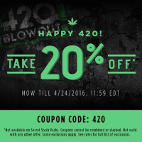 "Save some green on 420 with 20% Off at @VapeWorld now through Sunday!: HAPPY 420  TAKE  OFF  NOW TIL 4/24/2016, 11:59 EDT  COUPON CODE: 420  ""Not available on Secret Stash Packs. Coupons cannot be combined or stacked. Not vaild  with any other offer. Some exclusions apply. See rules for full list of exclusions. Save some green on 420 with 20% Off at @VapeWorld now through Sunday!"