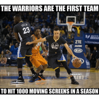 The Warriors keep breaking records! nbamemes: THE WARRIORS ARE THE FIRST TEAM  SEEN  30  @NBAMEMES  TO HIT1000 MOVING SCREENSIN A SEASON The Warriors keep breaking records! nbamemes